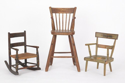 775: Three painted child's chairs, 19th c.