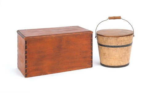 778: Painted berry pail, 6 1/2'' h., 7 1/4'' w. and a p