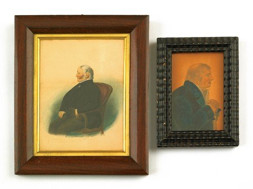 779: Two pencil and watercolor portraits of gentlemen,