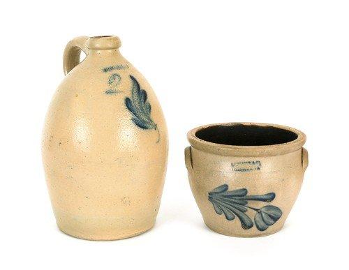785: Stoneware crock, 19th c., impressed L.H. Yeager