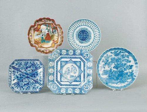 786: Five oriental porcelain dishes, largest - 12 1/4''