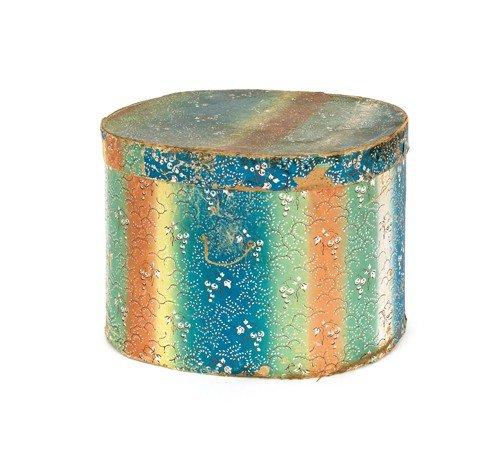 787: Wallpaper hat box, 19th c., 11'' h., 15'' w.
