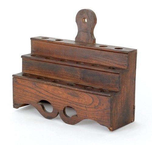 788: English yew wood utensil rack, 19th c., 13'' h., 1