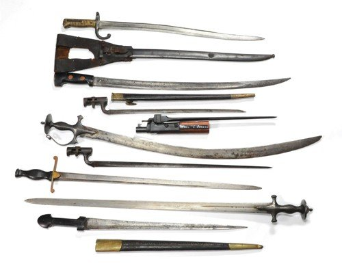 1200R: Three European bayonets, together with a French
