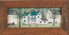 1551: Dolores Hackenberger, oil on board farm scene, 4