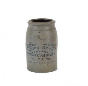 1552: Rare Pennsylvania stoneware crock stamped Grier