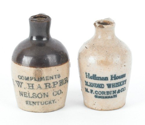 1553: Two miniature stoneware jugs, inscribed Hoffman