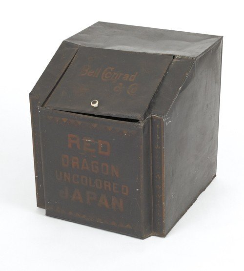 1559: Bell Conrad & Co. tin tea bin, 19 1/2'' h., 17 1