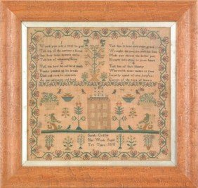 Silk On Linen Sampler Dated 1823, Wrought By Mary