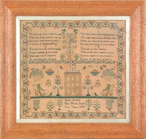 1563: Silk on linen sampler dated 1823, wrought by Mary