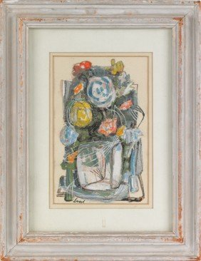 1565: Watercolor and gouache still life, signed Erni,