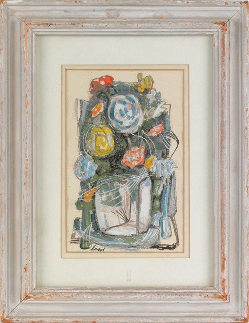 1565: Watercolor and gouache still life, signed Erni,
