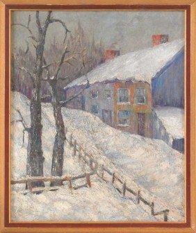 1566: Oil on canvas winter landscape, signed J. O'Keef