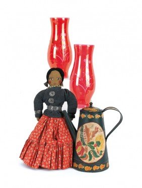 1568: Modern tole coffee pot, together with a cloth dol