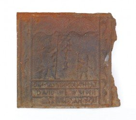 1570: David and Goliath cast iron stove plate, late 18t
