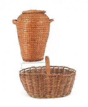 1573: Lidded rye straw basket, 19th c., 20 1/2'' h., to