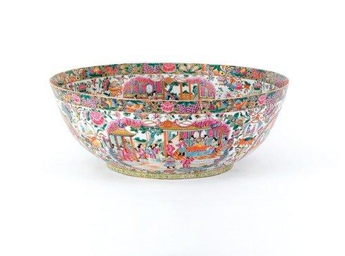 1897: Massive Chinese rose medallion bowl, 9'' h., 25''