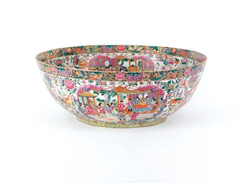 1897: Massive Chinese rose medallion bowl, 9'' h., 25''