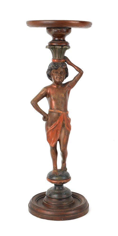 4: Carved mahogany figural stand, 28 3/4'' h., 9 1/2''