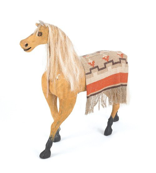 6: Carved and painted hobby horse, ca. 1900, 32'' h.