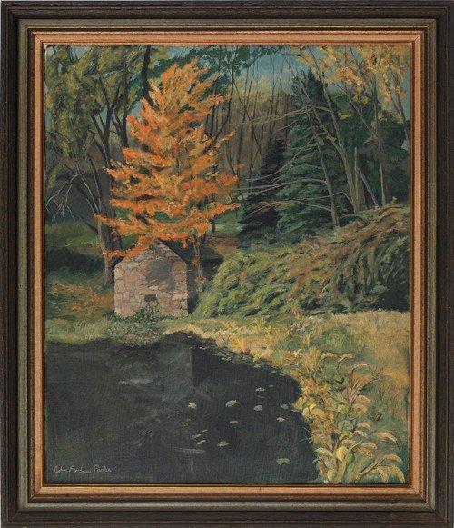 23: Oil on canvas landscape, signed John Andrew Park