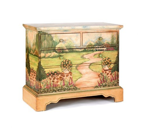 173: Adams style painted commode, 34'' h., 36 1/2'' w.,
