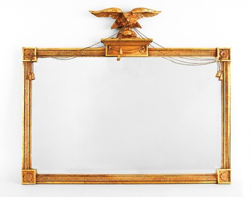 177: Federal style giltwood overmantle mirror, 38'' h.,