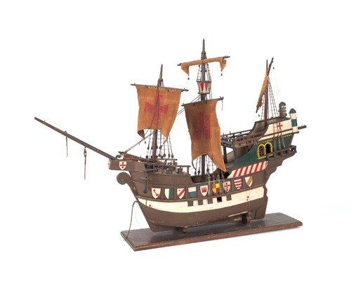 185: Large carved and painted ship model of Die Bunte