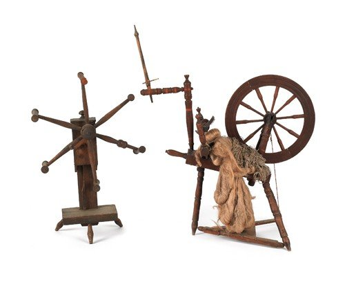 186: Turned and painted spinning wheel, together with