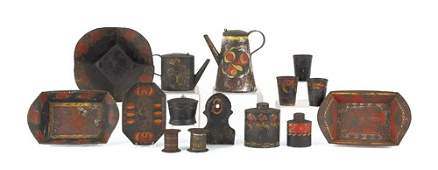 301: Large collection of Pennsylvania tole, 19th c., t