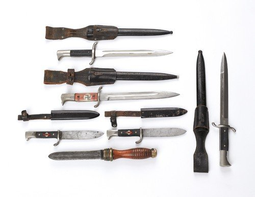 520: Two Hitler youth knives, together with a diver's