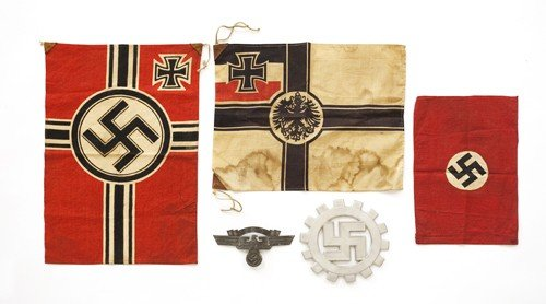 612G: Three German WWI and WWII pennants, together with