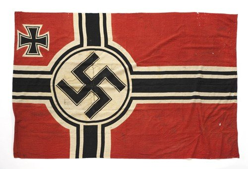 612Q: Black, white and red pennant, 56'' x 26'', togeth
