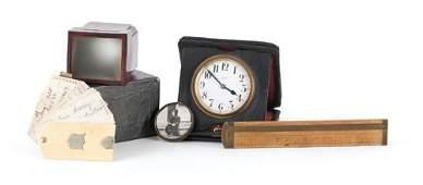 800W Swiss leather case travel clock by E Gubelin ca