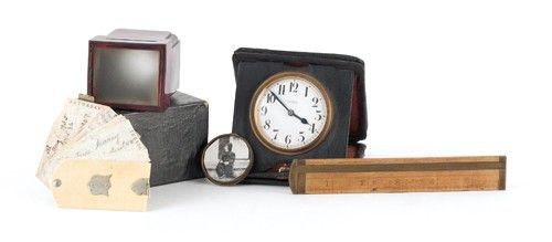 Swiss leather case travel clock by E. Gubelin, ca