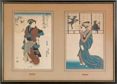 1255: Two Japanese woodblock prints, 19th c., by Kunis