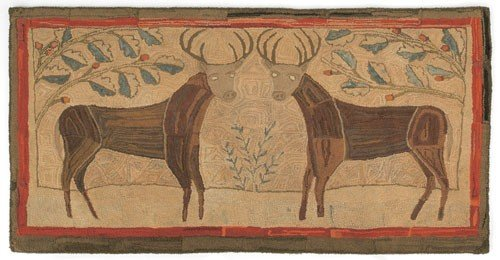 1: Vibrant American folk art hooked rug, 19th c.,