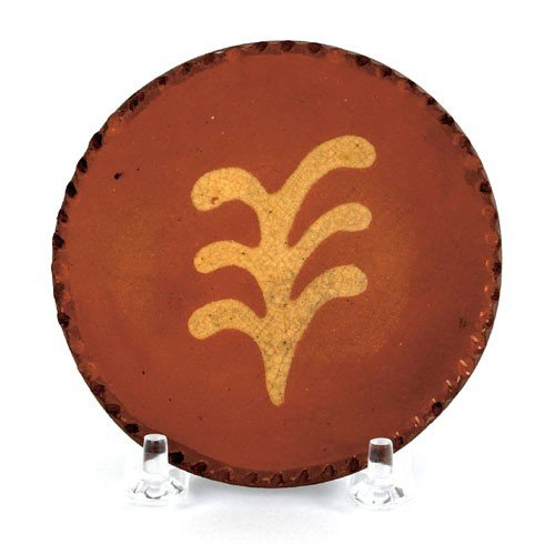 4: Miniature Pennsylvania redware plate, 19th c.,