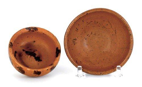 5: Two miniature Pennsylvania redware bowls, 19th c
