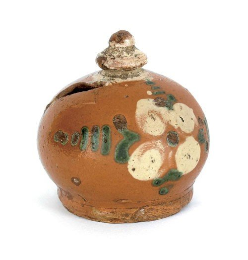 8: Pennsylvania redware bank, 19th c., with yellow