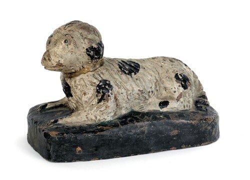 19: Painted redware recumbant dog, 19th c., inscrib