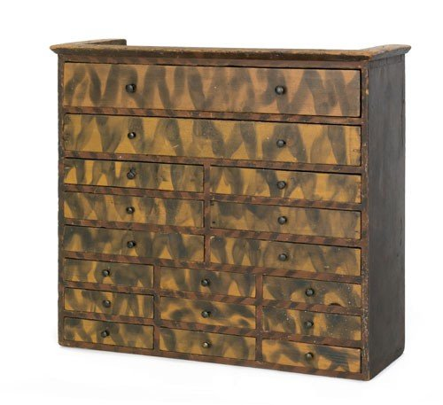 22: Pennsylvania painted spice chest, mid 19th c.,