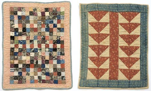 24: Two pieced doll quilts, early 20th c., one post