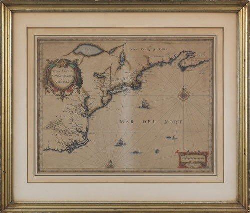 299: Johannes Janssonius engraved map of Nova Anglia