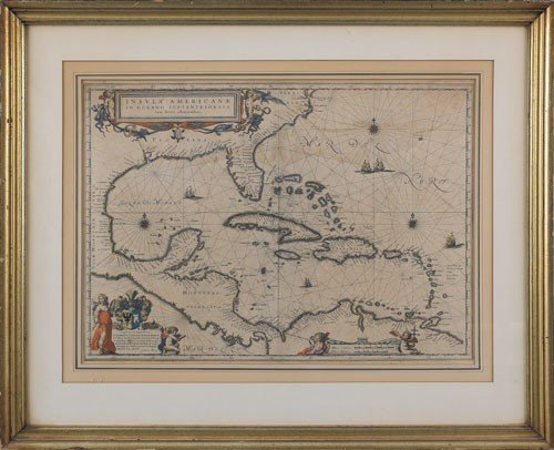 300: Guiljelmus Blaeu map of the Carribean Insula Am