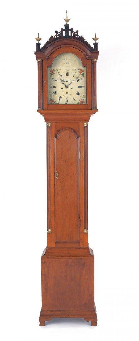 303: New England mahogany tall case clock with eight