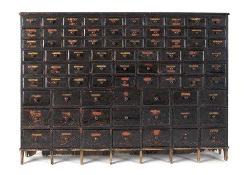 306: American painted pine seed chest, 19th c., reta