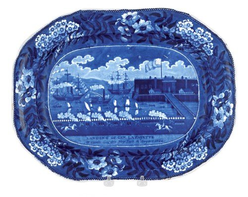 311: Historical blue Staffordshire platter, 19th c.,