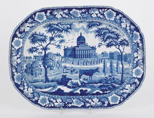 312: Historical blue Staffordshire platter, 19th c.,
