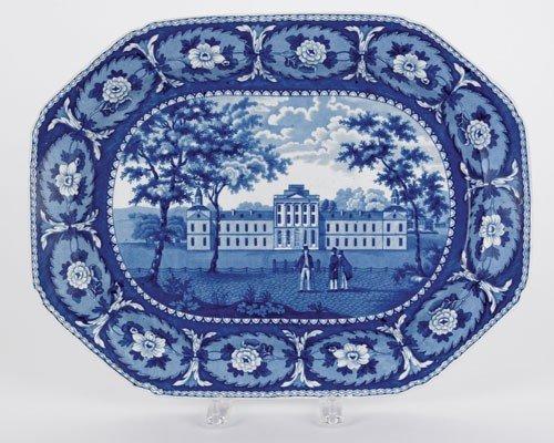 313: Historical blue Staffordshire platter, 19th c.,